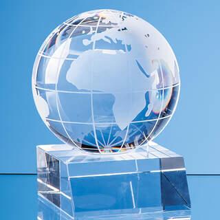 5cm Optical Crystal Globe Mounted on a Clear Crystal Base