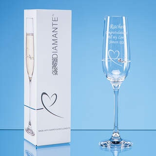 Single Diamante Petit Champagne Flute with Heart Design in an attractive Gift Box