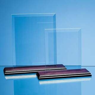 18cm x 12.5cm x 5mm Jade Glass Bevelled Rectangle on Wood Base