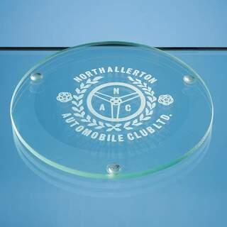 10cm Jade Glass Round Coaster