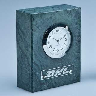 8cm Green Marble Bevel Edged Rectangle Clock
