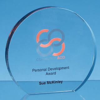 16.5cm x 19mm Clear Glass Freestanding Circle Award