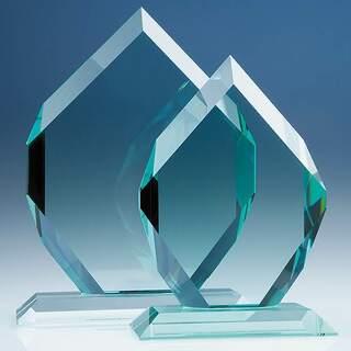 20.5cm x 15.5cm x 19mm Jade Glass Royal Diamond Award