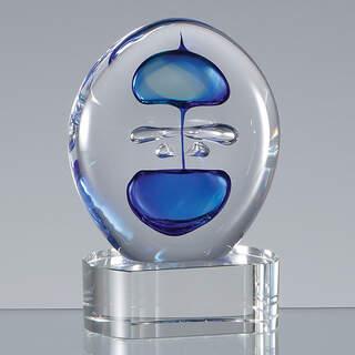 12cm Handmade Blue & Teal Round CrystalArt Award