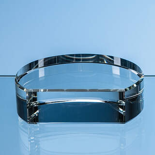 10cm x 3.5cm Optical Crystal Semi Circle Base with Flat Front