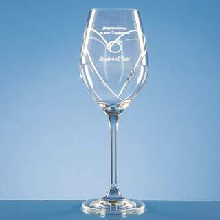 Single Diamante Wine Glass with Heart Shaped Cutting