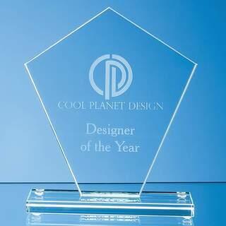 17.5cm x 15.5cm x 1cm Jade Glass Diamond Award