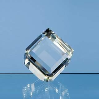 6cm Optical Crystal Bevel Edged Cube