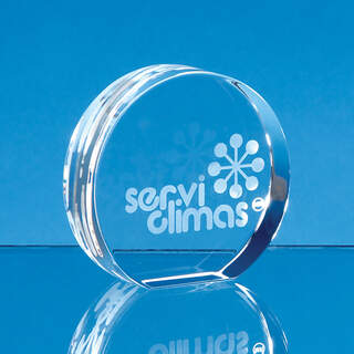 6cm Optical Crystal Stand Up Circle Paperweight