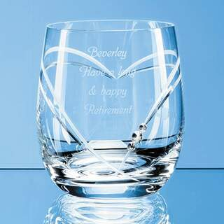 Single Diamante Whisky Tumbler with Heart Shaped Cutting