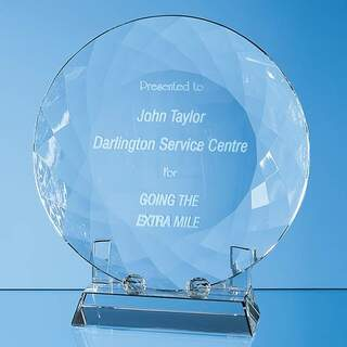 18cm Optical Crystal Facet Plate with Stand