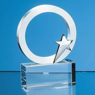 9cm Silver Star & Circle on an Optical Crystal Base