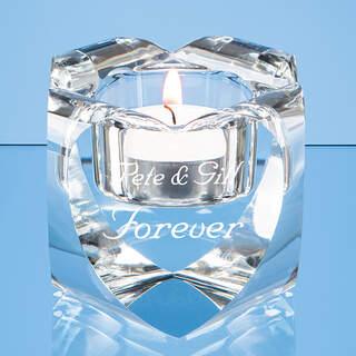 6cm Optical Crystal Heart Tealight Holder