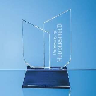 17cm Optical Crystal Double Slope Award on a Sapphire Blue Base