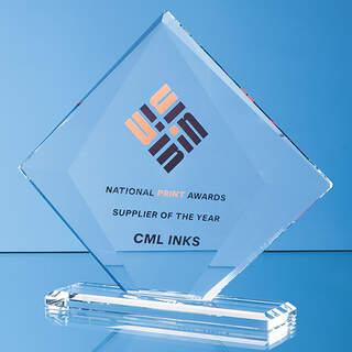 22cm x 25cm x 10mm Clear Glass Vision Diamond Award in a Gift Box