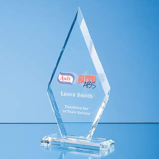 25.5cm x 13cm x 10mm Clear Glass Le Diamond Award in a Gift Box