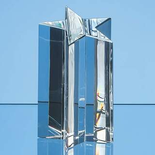 18cm Optical Crystal 5 Pointed Star Column Award